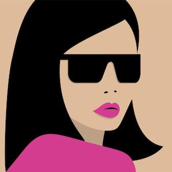 Portret van jonge brunette meisje in zonnebril. platte vectorillustratie.