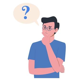Portret van jonge man. jongen met vraagteken in denk bel. mensen die een probleem denken of oplossen.