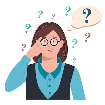 Portret van jonge verontruste vrouw. meisje met vraagteken in denk zeepbel. mensen die een probleem denken of oplossen. dilemma
