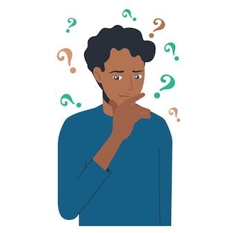 Portret van jonge verontruste zwarte man. jongen met vraagteken in denk bel. mensen die een probleem denken of oplossen. dilemma.