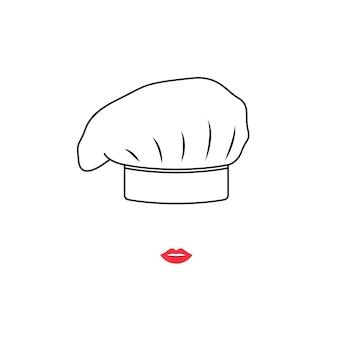 Portret van kokvrouw in witte hoed