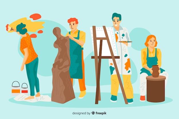 Portret van kunstenaars op het werk