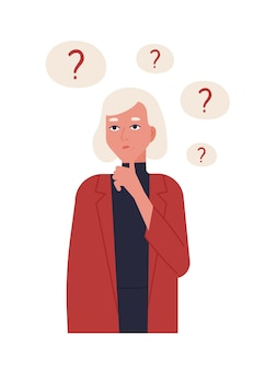 Portret van leuk blondemeisje in of jasje denken geïsoleerd. jonge vrouw omringd door tekstballonnen met vraagtekens