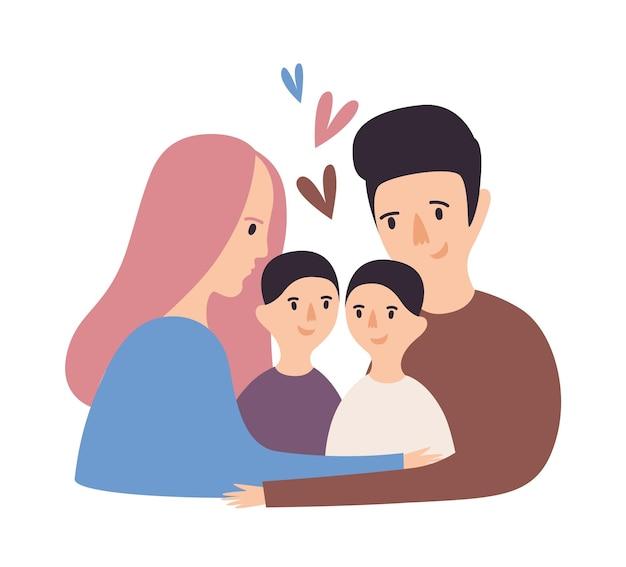 Portret van liefdevolle familie. gelukkige vader, moeder en paar kinderen knuffelen. leuke ouders en kinderen knuffelen. grappige vrolijke stripfiguren. gekleurde vectorillustratie in moderne vlakke stijl.