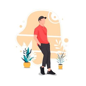 Portret van man poseren in stijlvolle outfits platte ontwerp concept vectorillustratie