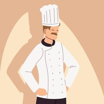 Portret van mannelijke chef-kok in werkend eenvormig illustratieontwerp