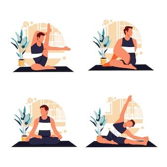 Portret van mannen doen yoga platte ontwerp illustratie