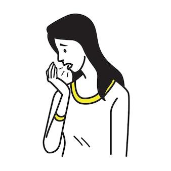 Portret van mooie vrouw adem naar haar handpalm