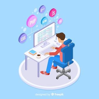 Portret van programmeur die met pc werkt