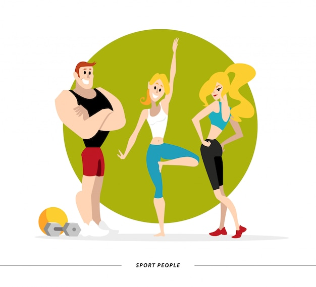 Portret van sporters dame en man in uniform. stijl.