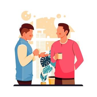 Portret van twee mensen praten tijdens een pauze-illustratie