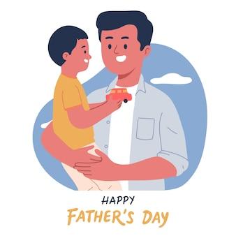 Portret van vader en zoon knuffelen om vaderdag te vieren