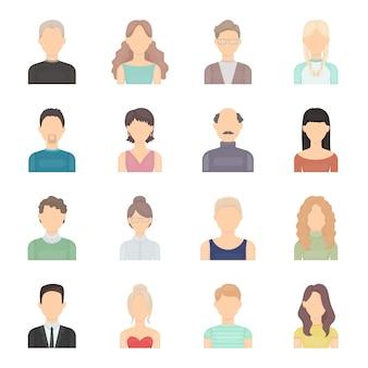 Portret van vector het pictogramreeks van het gezichtsbeeldverhaal. vector illustratie industrie portret van het gezicht.