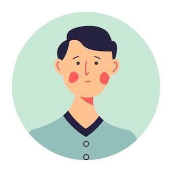 Portret van verlegen tiener in formaat kleding, geïsoleerde cirkel icoon van personage met blos op wangen. student van school, hogeschool of universiteit. onzeker brunette gezicht, ontspannen jongensfoto, vector