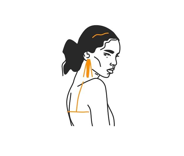 Portret van vrouw met gouden oorringen, illustratie in minimale stijl