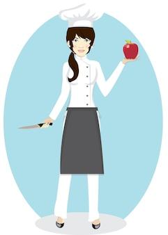 Portret van vrouwelijke chef-kok met een appel en mes op blauwe achtergrond. vector, illustratie