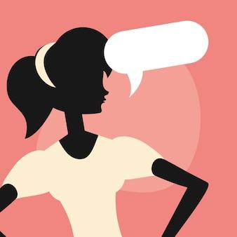 Portret vrouw silhouet toespraak bubble retro design