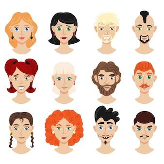 Portretinzameling van mannelijke en vrouwelijke karaktersillustratie