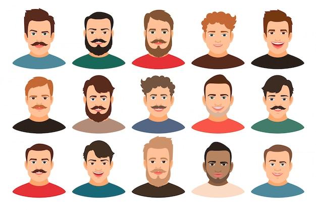 Portretten van de beeldverhaal de knappe jonge kerel met baard of zonder vectorillustratie. man gezicht avatar set geïsoleerd