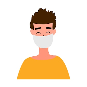 Portretten van gemaskerde mannen en vrouwen geïsoleerd op een witte achtergrond. coronavirus 2019-ncov-uitbraak. pandemische epidemiologie concept. platte vectorillustratie.
