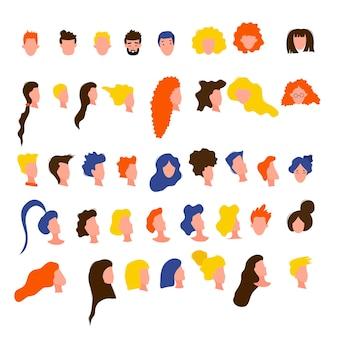Portretten van vrouwen en mannen in een eenvoudige stijl geïsoleerd op een witte achtergrond. leuke platte stijl. vector illustratie.