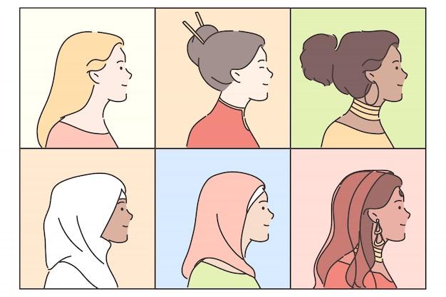 Portretten van vrouwen geplaatst concept