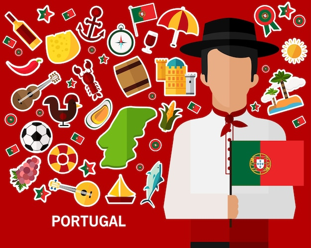 Portugal concept achtergrond. vlakke pictogrammen