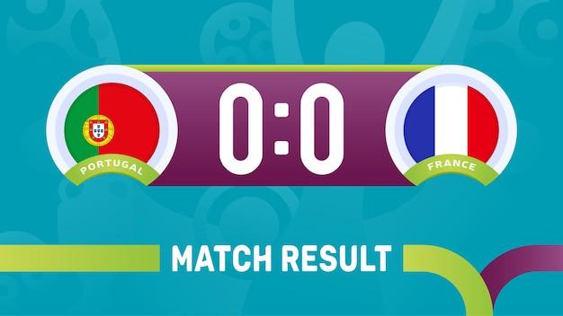 Portugal frankrijk wedstrijdresultaat, europees voetbalkampioenschap 2020 illustratie.