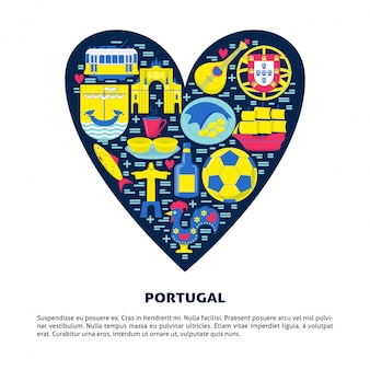 Portugal in vlakke stijl in een hart