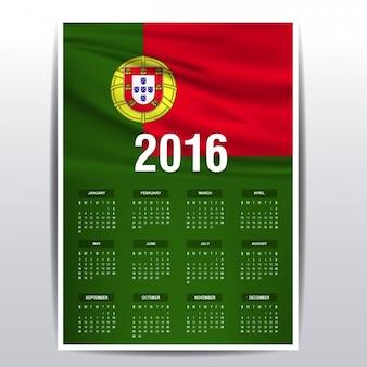 Portugal kalender van 2016