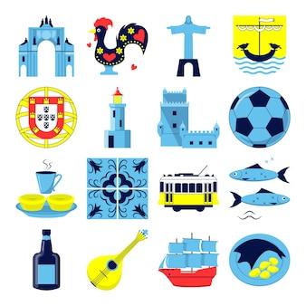 Portugal pictogrammen instellen in vlakke stijl