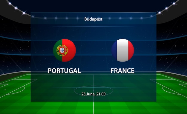 Portugal vs frankrijk voetbalscorebord.