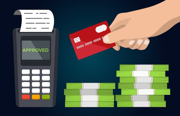 Pos-betalingsterminal met hand en creditcard vlakke vector.