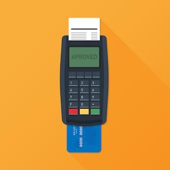Pos-terminal. betaalterminal met ontvangstbewijs. bank- en zakelijke diensten. vector illustratie