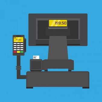 Pos-terminal koopt business betalende technologie illustraton