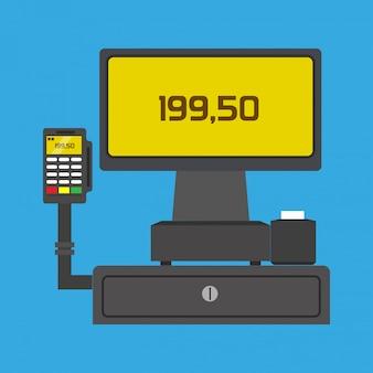 Pos-terminal koopt zakelijke betalende technologie vector pictogram.