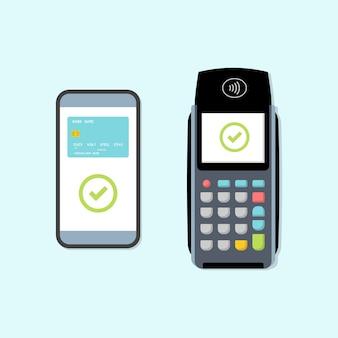 Pos-terminal met betaling via smartphone.