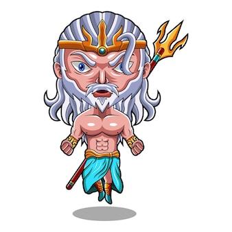 Poseidon chibi-mascottelogo met drietandwapen
