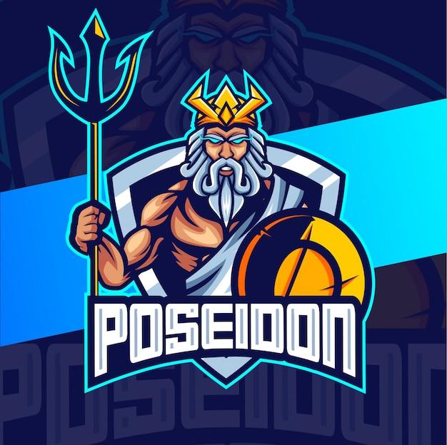 Poseidon king mascotte esport logo ontwerp