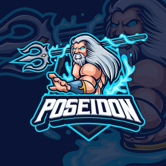 Poseidon mascotte esport gaming logo ontwerp