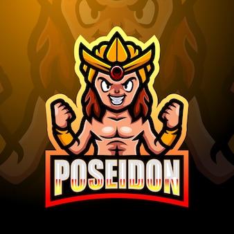 Poseidon mascotte esport logo ontwerp