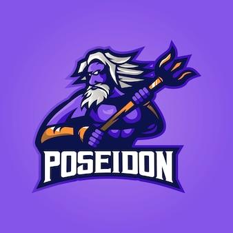 Poseidon mascotte logo met modern illustratie concept