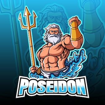 Poseidon met drietand esport illustratie