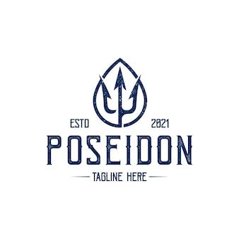 Poseidon trident vintage logo template geïsoleerd op wit