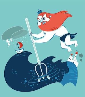 Poseidons toorn vectorillustratie