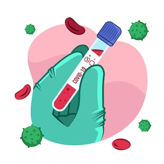 Positief bloed in een covid-19 reageerbuis