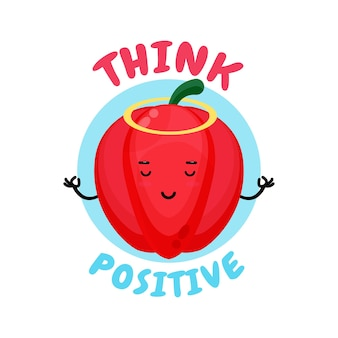 Positief denken, schattige paprika die aan het mediteren is