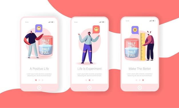 Positief en negatief denken mobiele app-pagina schermset aan boord.
