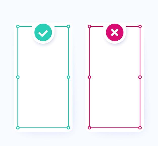 Positief en negatief, lijsten met voor- en nadelen, vectorontwerp