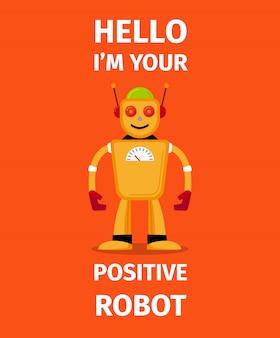 Positief robot oranje karakter